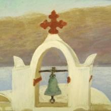 "Greek Island Churches I, 8"" X 10"", Pastel on Paper. Status: SOLD"