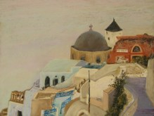 "Greek Island Churches II 11"" X 15"", Pastel on Paper. Status: Available"