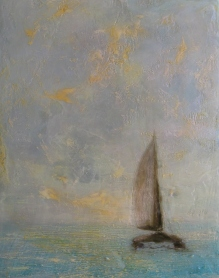 "Catamaran at Sea, 14"" X 11"", Encaustic and Resin on Panel"