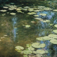 """Waterlilies With Reflections of Sky And Trees, 18"""" X 24"""""""