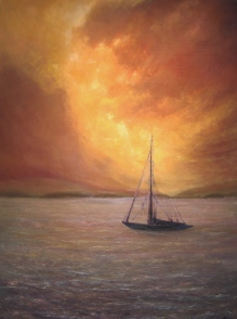 "Evening Sail, 48"" X 36"", Oil on Cradled Panel"
