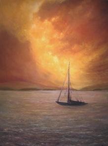 "Evening Sail, 48"" X 36"", Oil on Cradled Panel"