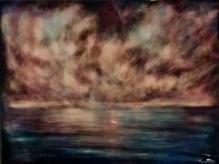 "Phantom Sail, 12"" X 16,"" Oil and Resin on Cradled Panel"