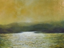 """Sunset in Green Gold Series IV, 12"""" X 16"""", Oil on Cradled Panel"""