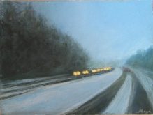 "Winter Drive, Georgian Bay, Ontario. 9"" X 12"", Pastel on Paper. Status: Available"