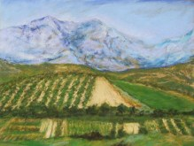 Olive Groves and Vineyards, Crete Island, Pastel on Paper. Status: Available