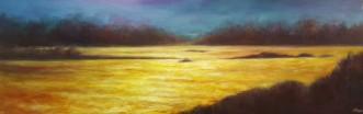 """Cliffside at Sunset, 20""""X60"""", Oil on Belgian Linen"""