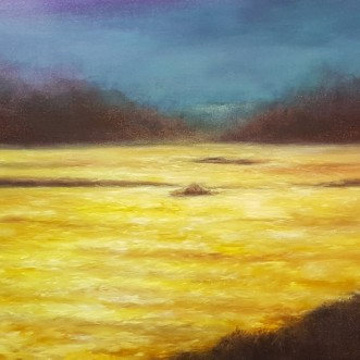 "Cliffside at Sunset, 20""X60"", Oil on Belgian Linen"