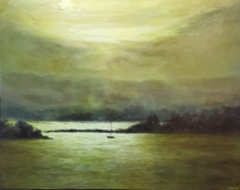 """Sunset in Green Gold II, 24""""X30"""", Oil on Cradled Panel"""