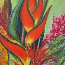 "Still Life - Heliconia, 12""X16"", Pastel on Paper"