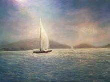 """Catamaran, St. Thomas USVI, 30""""X40"""", Oil on Cradled Panel"""