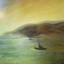 """Sunset in Green Gold III, 24""""X24"""", Oil on Cradled Panel"""
