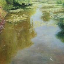 """Monet's Gardens in Morning Light, 28"""" X 20"""""""